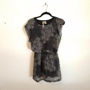 Boutique Black Patterned Dress with Ruffle Sleeve